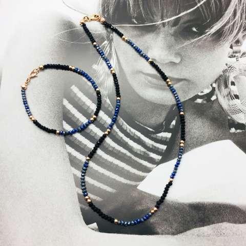 Collana Zirconi neri, Tanzanite blu e perline argento 925 oro rosa
