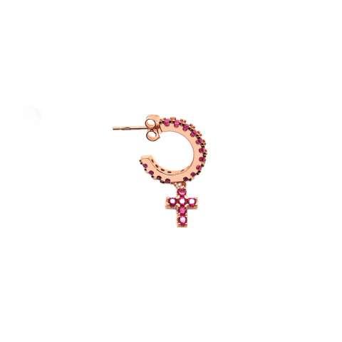 Rose gold sterling silver mono hoop ruby Zirconia Cross