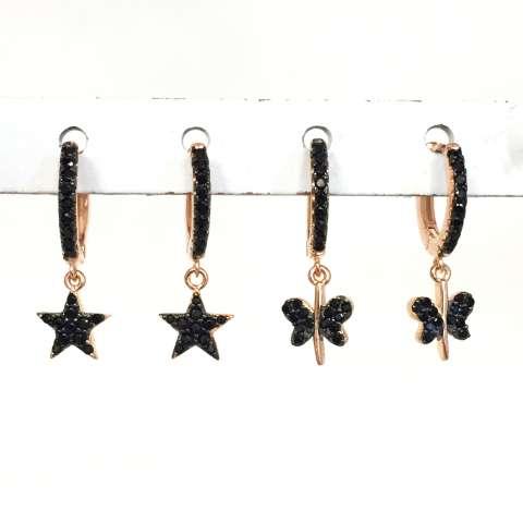 Mono orecchino cerchio zirconato nero 1cm argento 925 oro rosa stella Zirconi neri