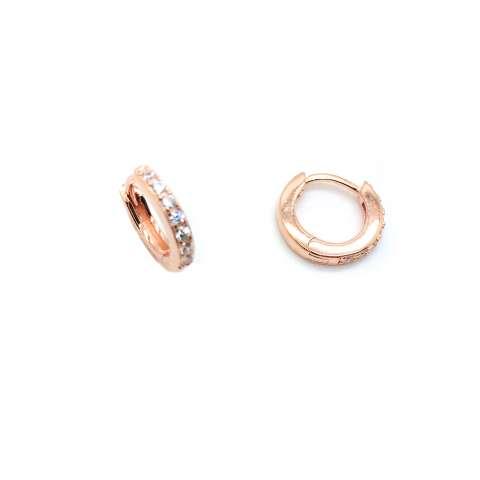 Mono orecchino micro cerchio 1cm. zirconato argento 925 oro rosa