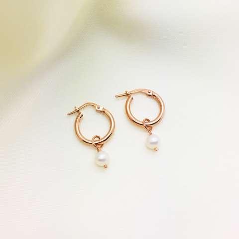 Orecchini a cerchio 1 cm. argento 925 oro rosa Perla di fiume