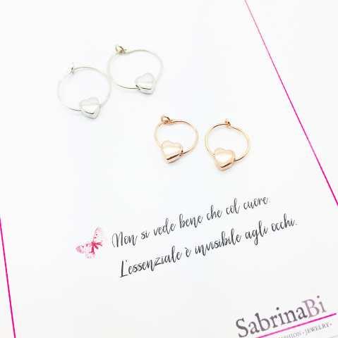Orecchini a cerchio argento 925 oro rosa Love you