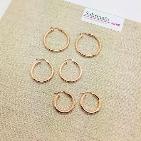 Orecchini a cerchio grandi argento 925 oro rosa