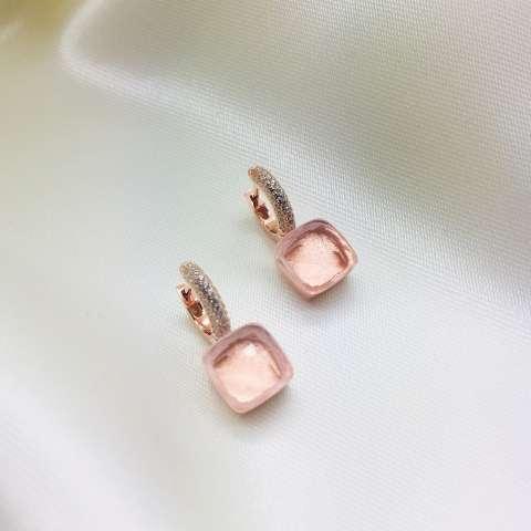 Orecchini a cerchio Zirconato argento 925 oro rosa Nudo champagne