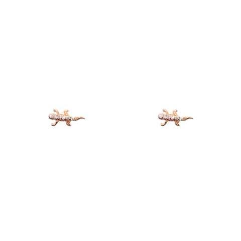 Orecchini a lobo argento 925 oro rosa micro geco Zirconi