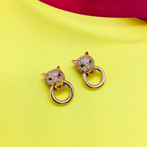 Rose gold sterling silver Panther with ring studs