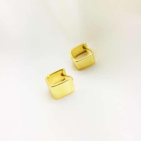 Orecchini argento 925 oro giallo squadrati