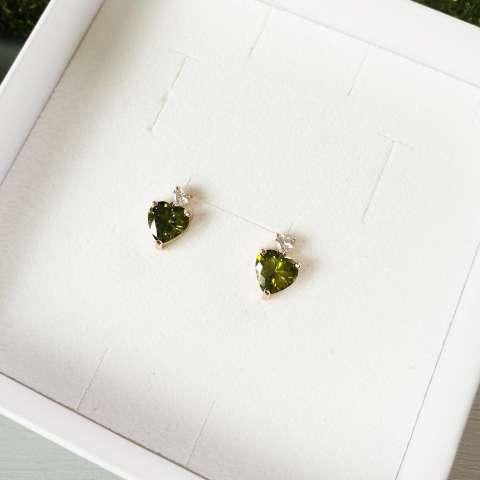 Orecchini argento 925 oro rosa Caterina verdi