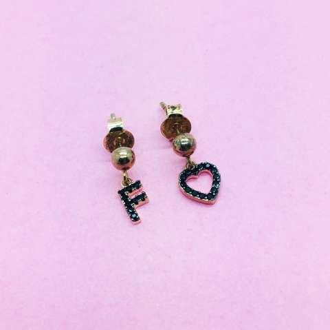 Orecchini argento 925 oro rosa Lettera e cuore