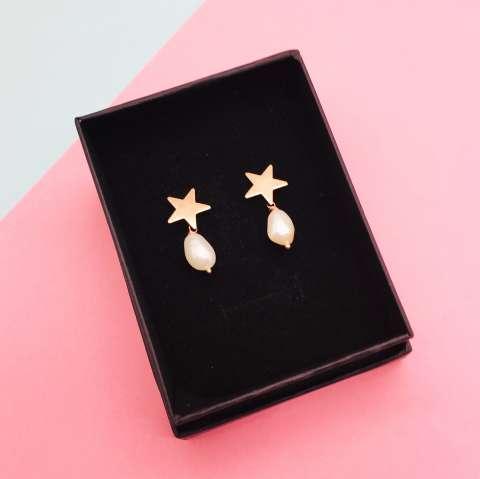 Orecchini argento 925 oro rosa Stella e Perla