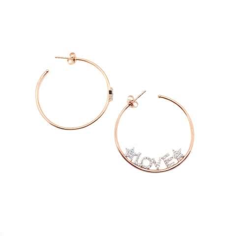 Orecchini cerchio grande argento 925 oro rosa Love