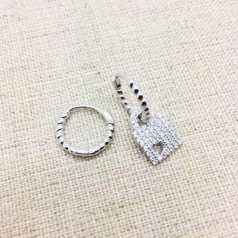 Orecchini cerchio torchon argento 925 Lucchetto Zirconi