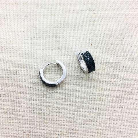 Orecchini mini cerchio argento 925 tripla fila Zirconi neri