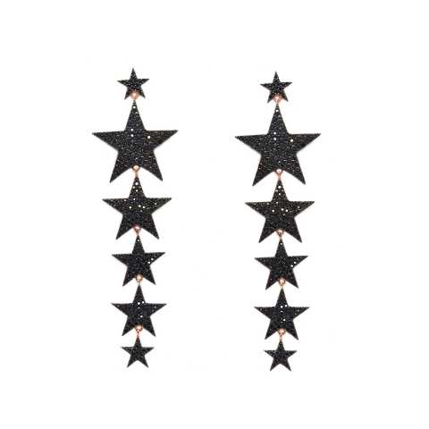 Orecchini pendenti argento 925 oro rosa stelle grandi brillanti neri
