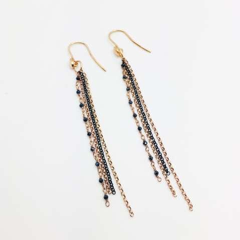 Orecchini pendenti catene argento 925 brunito e oro rosa